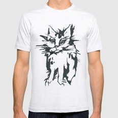 a threatening cat Mens Fitted Tee Ash Grey SMALL