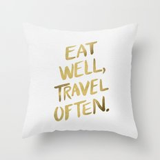 Eat Well Travel Often On… Throw Pillow