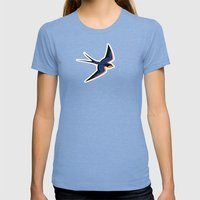Barn Swallow Womens Fitted Tee Tri-Blue SMALL