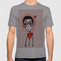 Robot Love Mens Fitted Tee Athletic Grey SMALL