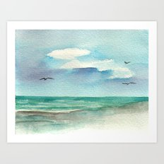 Wet Sand Reflections Art Print