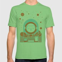 Orange Space Mens Fitted Tee Grass SMALL