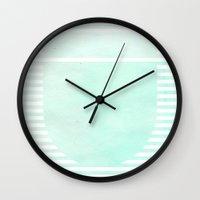 Striped Watercolor - Aqua Wall Clock