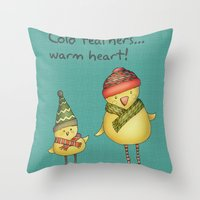 Two Chicks - teal Throw Pillow