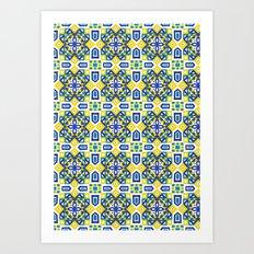 Ethnic Geometric Moroccan Watercolor Seamless Patern 3 Art Print
