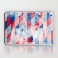 Red Blue Abstract Geometric Pattern Gray Wolf Head Laptop & iPad Skin