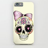 iPhone & iPod Case featuring Sugar Skull (Yellow) by Ella Mobbs