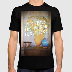 Let's Travel the World Together! Black Mens Fitted Tee SMALL