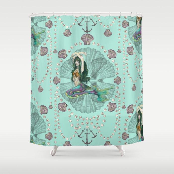 Mermaid deco shower curtain by deborah panesar illustration society6