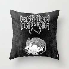 Decapitated by dishwasher II (black) Throw Pillow