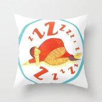 Sleepy Drinker Throw Pillow