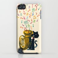 Happy Cat With A Tuba iPod touch Slim Case