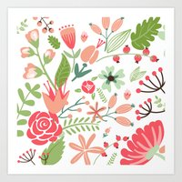 Floral pink and green pattern Art Print