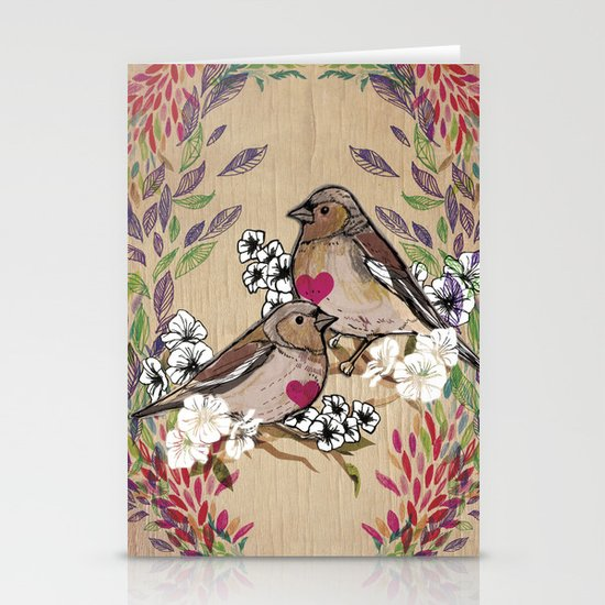 Floral Birds Stationery Card