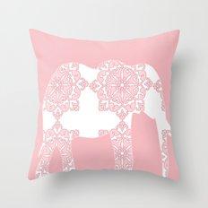 Animals Illustration - Pink Damask Elephant Throw Pillow