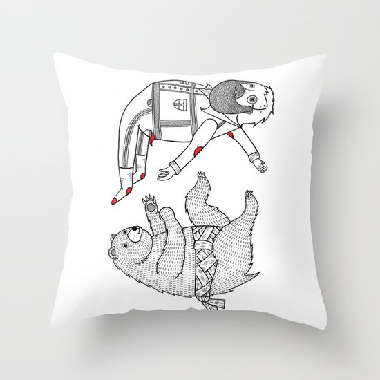 On the bear's uncontrollable urge to toss his master in the air Throw Pillow