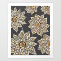 Floral Rhythm In The Dar… Art Print