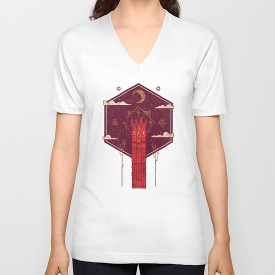 The Crimson Tower V-neck T-shirt