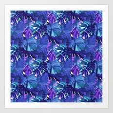 Palm Leaf Blue Art Print
