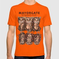 Emancipated Monkeys  Mens Fitted Tee Orange SMALL