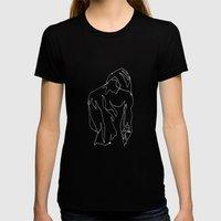 minimal drawing  Womens Fitted Tee Black SMALL