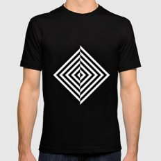 Black and White Concentric Diamonds Mens Fitted Tee Black SMALL
