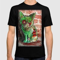 Mean Green Cute Zombie Cat Mens Fitted Tee Black SMALL