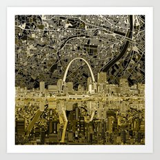 St Louis City Skyline Ma… Art Print