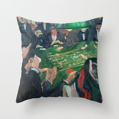At the Roulette Table in Monte Carlo by Edvard Munch Throw Pillow