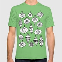 Retro Christmas Ornaments Mens Fitted Tee Grass SMALL
