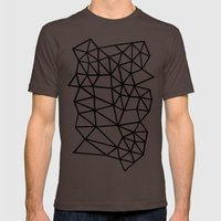 Segment Dense Black on White Mens Fitted Tee Brown SMALL