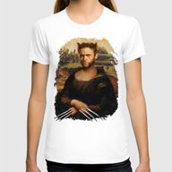 Hugh Jackman Mona Lisa F… Womens Fitted Tee White SMALL
