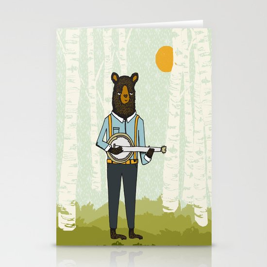Bear's Bourree - Bear Playing Banjo Stationery Card