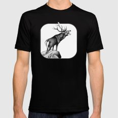 Stag Roaring in the Rut Mens Fitted Tee SMALL Black