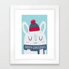 Cozy Winter Rabbit Christmas Card Framed Art Print