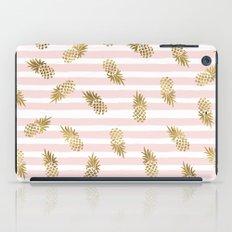 Pineapples-Gold-blushing-stripe iPad Case