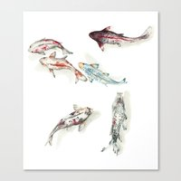 Koi Fish Watercolour Canvas Print