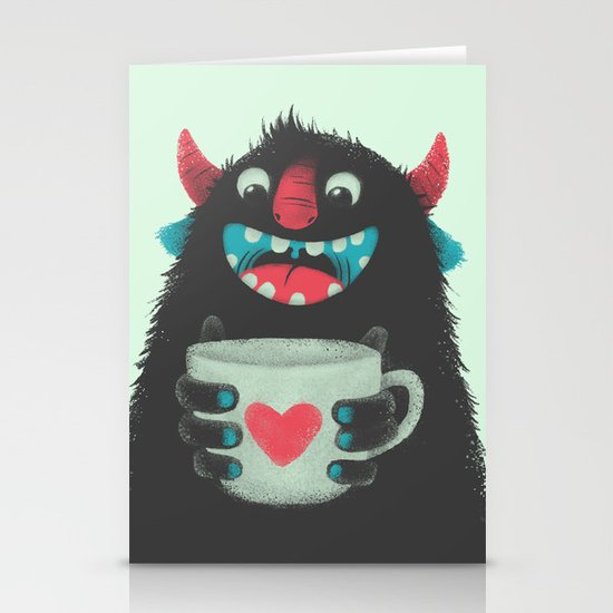 Demon with a cup of coffee Stationery Card