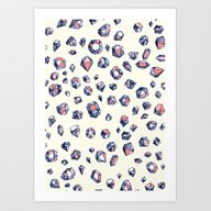 Navy & Coral Crystals Art Print