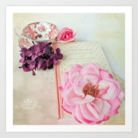 Pink Book With Flowers Art Print