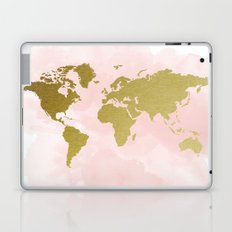 Gold World Map Poster Laptop & iPad Skin