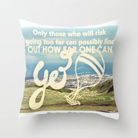 Adventure Quote, hot air balloon Throw Pillow