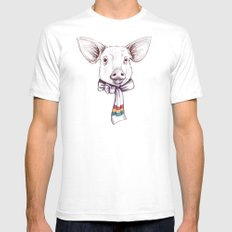 Pig and scarf Mens Fitted Tee SMALL White