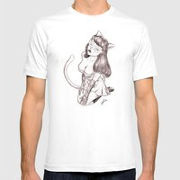 Kitschy Kat Mens Fitted Tee White SMALL