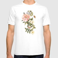 Vintage floral watercolor background Mens Fitted Tee SMALL White