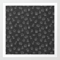 Indian Baby Elephants Bl… Art Print