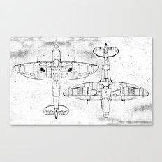 Spitfire Mk. XIV (black) Canvas Print