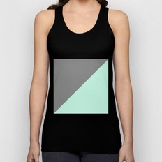 Grey and Mint Half Triangle Unisex Tank Top