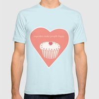 Cupcakes Mens Fitted Tee Light Blue SMALL