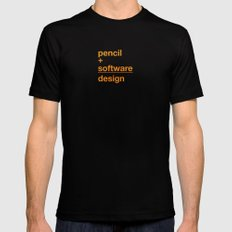 pencil + software = design Black Mens Fitted Tee SMALL